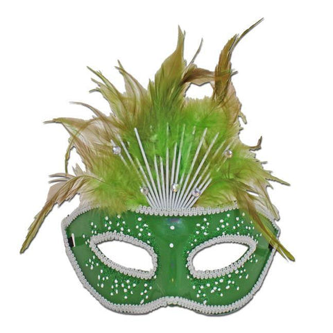 Green Crowned Masquerade Mask With Feathers adult one size, carnival, fancy dress, feathers, green, mardi gras, masks, masquerade, rio carnival, venetian, womens