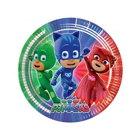 PJ Masks Paper Plates - Pack Of 8 boys, childrens, clearance, disney, girls, licensed, paper, party supplies, PJ masks, pjmasks, plate, superhero