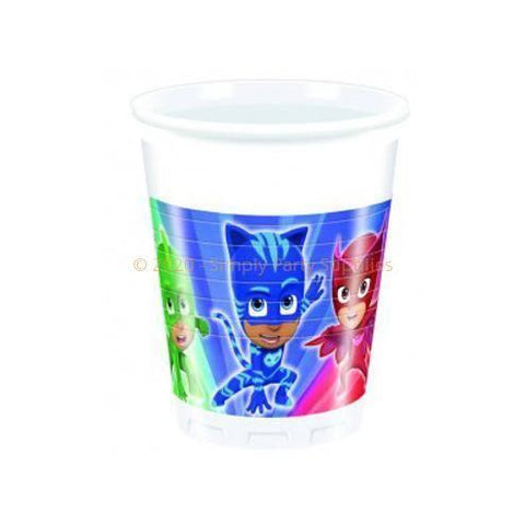 PJ Masks Plastic Cups - Pack Of 8 boys, catboy, childrens, clearance, cup, disney, drinking, gecko, girls, licensed, owlette, party supplies, PJ masks, pjmasks, plastic, superhero