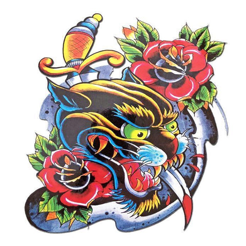 Panther Rose Large Temporary Tattoo animal, colour, flower, large, panther, rose, tattoo, wholesale