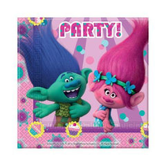 Trolls Napkins - Pack Of 20 boys, childrens, disney, girls, licensed, napkins, party supplies, serviettes, trolls