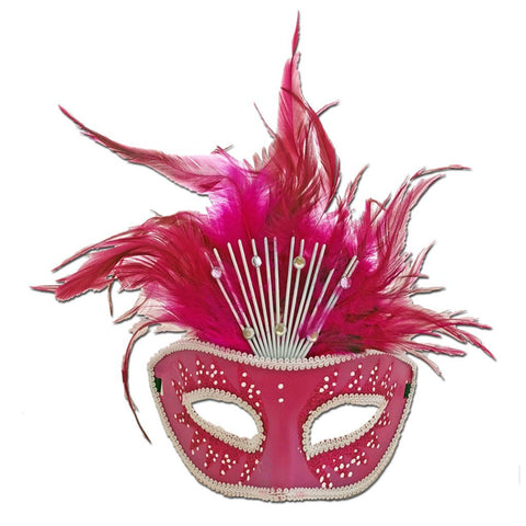 Pink Crowned Masquerade Mask With Feathers