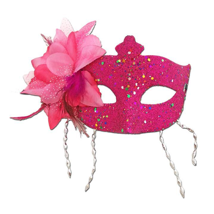 Pink Masquerade Mask Large Flower And Tassels adult one size, cerise pink, fancy dress, glitter, masks, masquerade, pink, venetian, womens