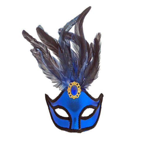 Ladies Blue Masquerade Mask With Large Jewel