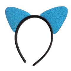 Fancy Dress Costume Accessory - Glittery Alice Band Cat Ears In Turquoise