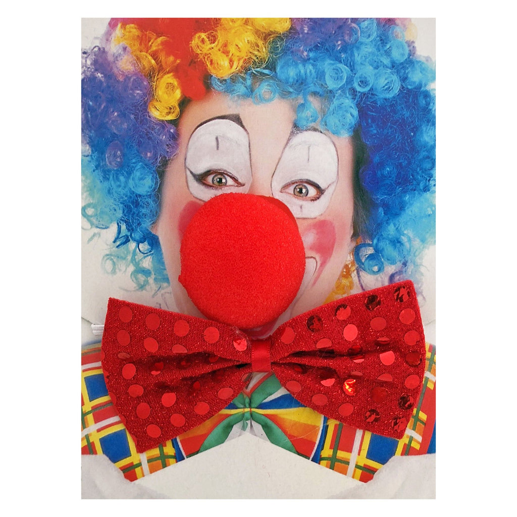 Vinyl Mask - Clown Nose and Red Bowtie Set