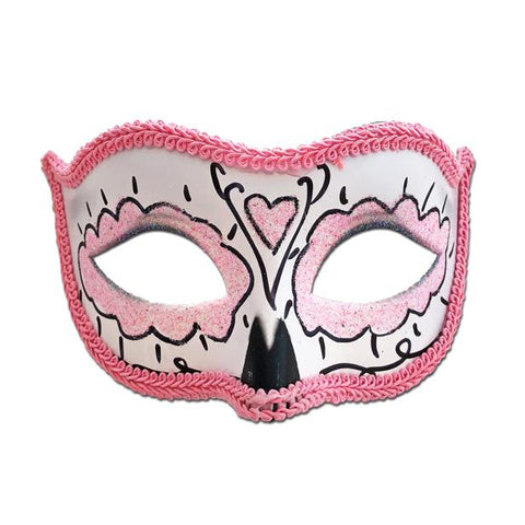 Day Of The Dead Masquerade Mask Pink