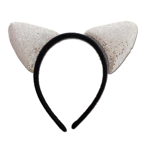 Fancy Dress Costume Accessory - Glittery Alice Band Cat Ears In Silver