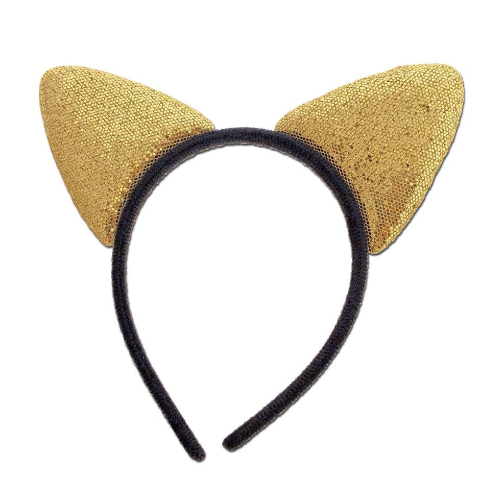 Glittery Alice Band Cat Ears In Gold accessories, cat, childrens, costume, disney, ears, fancy dress, girls, gold, masks