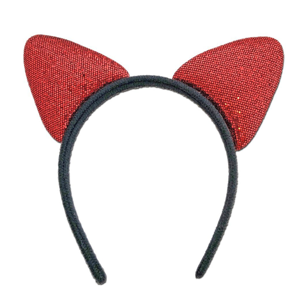 Fancy Dress Costume Accessory - Glittery Alice Band Cat Ears In Red