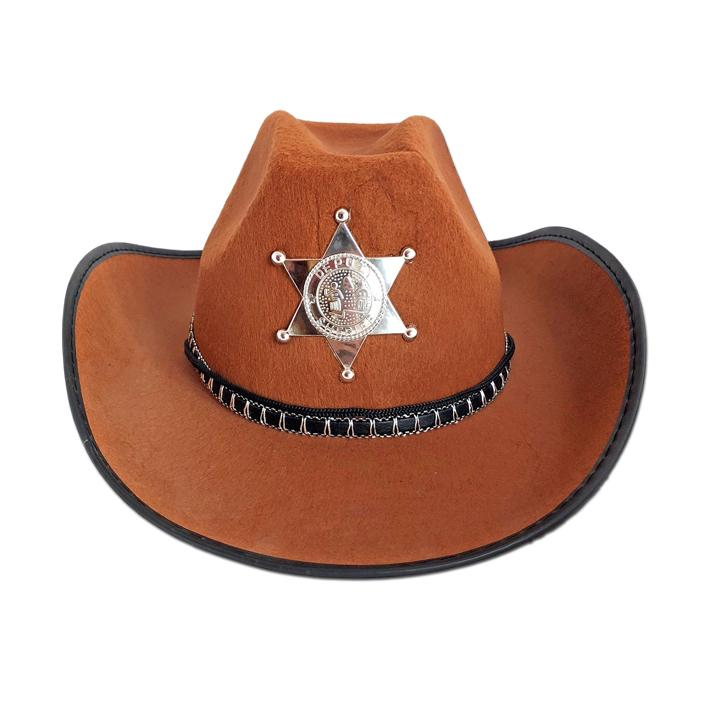 8b9bb2b43d906 Cowboy   Sheriff Hat - Brown - Fancy Dress Costume Accessory - Simply Party  Supplies