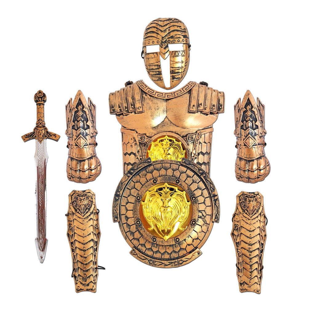 Childrens Deluxe Bronze Roman Medieval Armor Set - Fancy Dress Costume - Simply Party Supplies