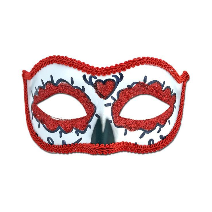 Rubber Mask - Day Of The Dead Masquerade Mask Red