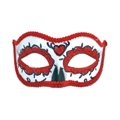 Day Of The Dead Masquerade Mask Red