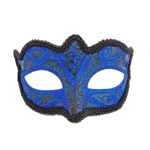 Glitter Brocade Masquerade Mask Royal Blue adult one size, blue, fancy dress, glitter, lace, mardi gras, masks, masquerade, venetian, womens