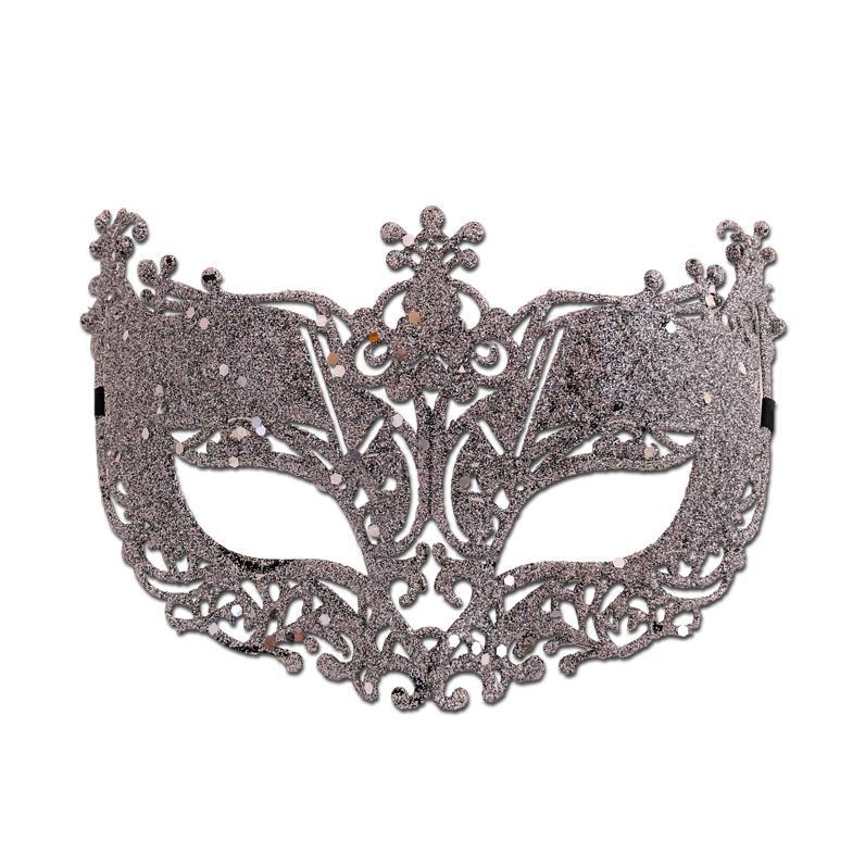 Fancy Glitter Lace Masquerade Mask Silver adult one size, fancy dress, glitter, lace, mardi gras, masks, masquerade, silver, venetian, womens