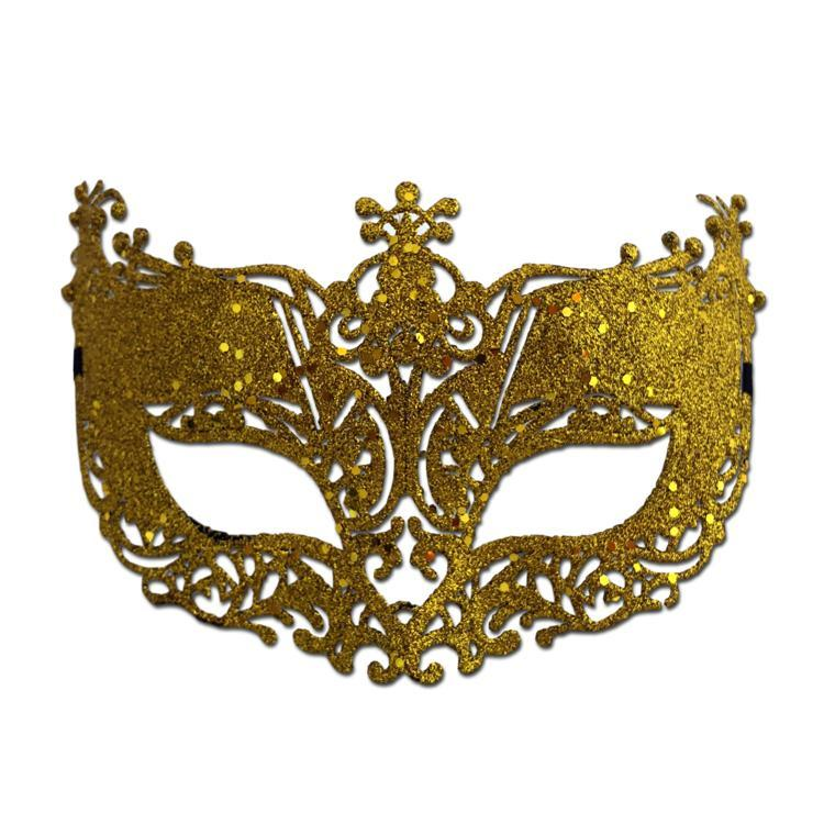 Fancy Glitter Lace Masquerade Mask Gold adult one size, fancy dress, glitter, gold, lace, mardi gras, masks, masquerade, venetian, womens