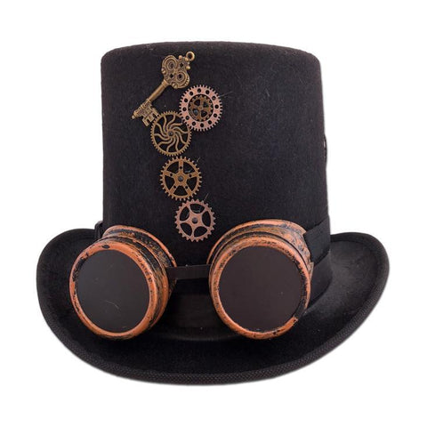 Adult Steam Punk Hat With Attached Goggles