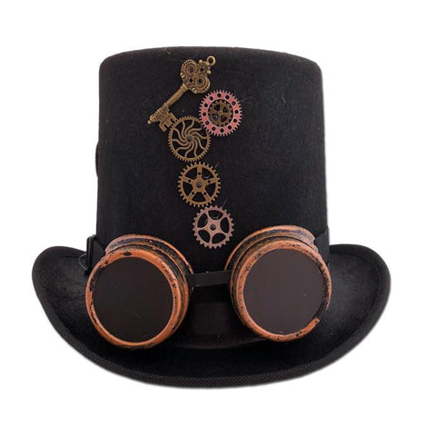 Fancy Dress Costume Accessory - Adult Steam Punk Hat With Attached Goggles