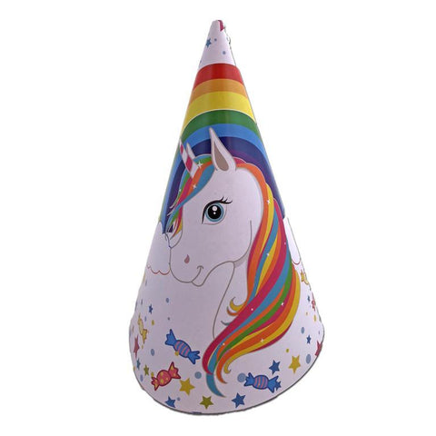 Rainbow Unicorn Paper Party Hats - Pack of 10 childrens, fancy dress, girls, hat, hats, paper, party supplies, rainbow, unicorn