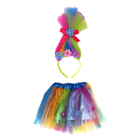 Fancy Dress Costume Accessory - Trolls Rainbow Head Piece Aliceband and Tutu Set
