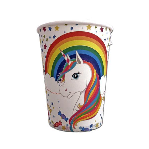 Rainbow Unicorn Paper Cups - Pack Of 10 childrens, cup, girls, paper, party supplies, rainbow, unicorn