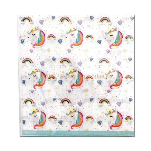 Rainbow Unicorn Napkins - Pack Of 20 childrens, girls, napkins, party supplies, rainbow, serviettes, unicorn