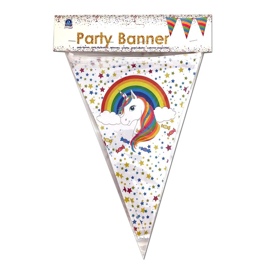 Rainbow Unicorn Party Decor Banner 2 5m
