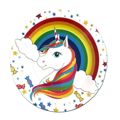 Rainbow Unicorn Paper Plates - Set of 10 character, childrens, disney, girls, paper, party supplies, plate, rainbow, unicorn