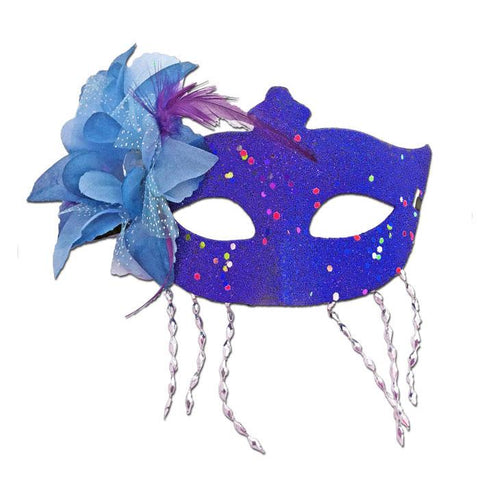 Blue Masquerade Mask Large Flower And Tassels - Masquerade Mask - Simply Party Supplies