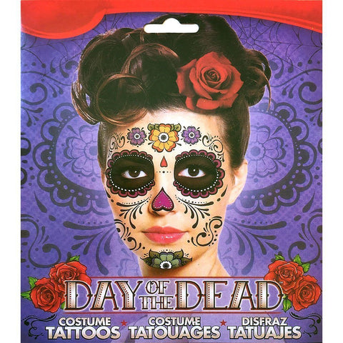 Day of the Dead Colourful Flower Skull Face Temporary Tattoo black, day of the dead, face, skull, tattoo