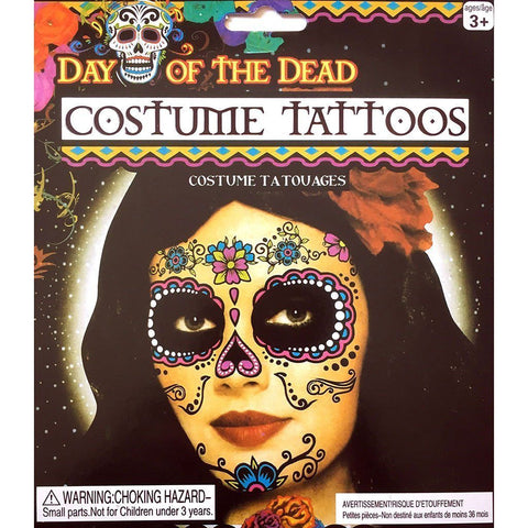 Day of the Dead Hot Colour Flower Skull Face Temporary Tattoo black, day of the dead, face, skull, tattoo