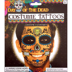 Day of the Dead Diamond Skull Face Temporary Tattoo