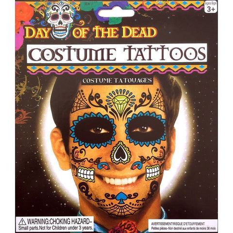 Day of the Dead Diamond Skull Face Temporary Tattoo black, day of the dead, face, skull, tattoo