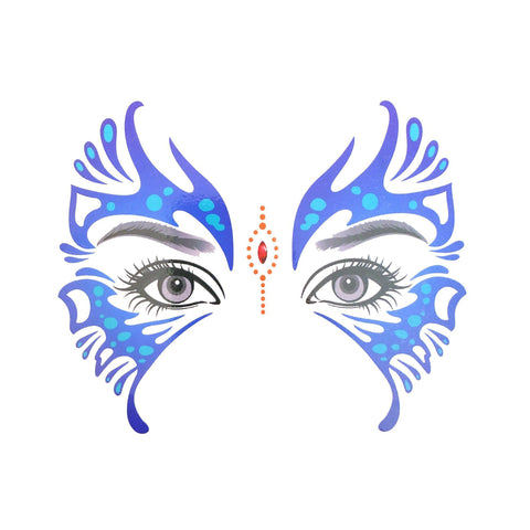 Temporary Face Art Tattoo - Blue Butterfly blue, colour, face, tattoo, wholesale, womens