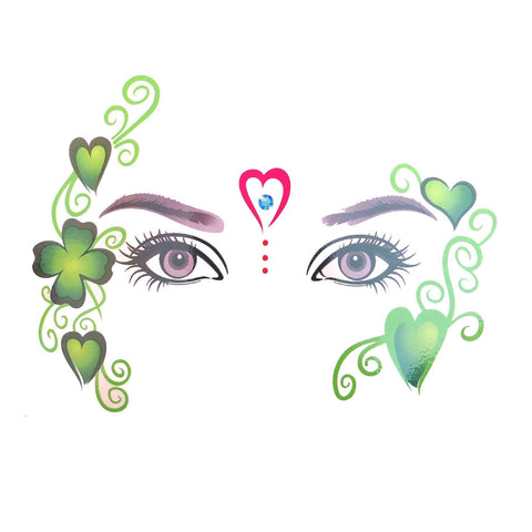 Temporary Face Art Tattoo - Red Heart And Clover Leaf colour, face, green, heart, tattoo, wholesale, womens
