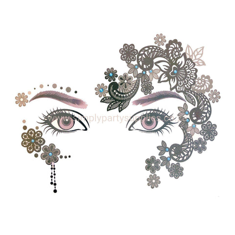Temporary Face Art Tattoo - Paisley Side Pattern colour, face, tattoo, wholesale, womens