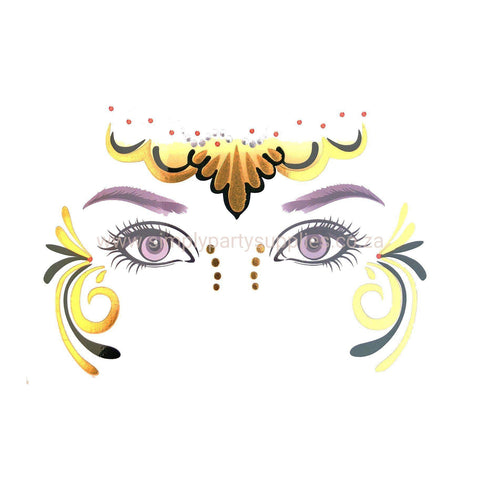 Temporary Face Art Tattoo - Headband Swirl Gold colour, face, tattoo, wholesale, womens, yellow