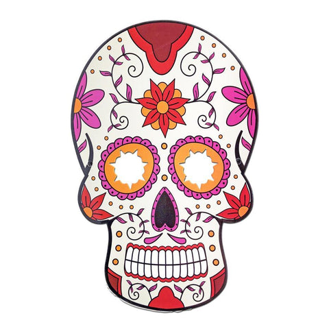 Masquerade Mask - Day Of The Dead Style Mask White with Red and Purple Flowers