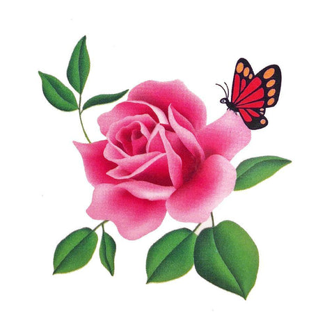 Rose and Sitting Butterfly Mini Temporary Tattoo animal, butterfly, colour, flower, mini, rose, tattoo, wholesale