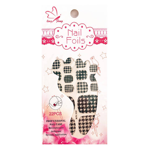 Black And White Houndstooth Design Toenail Foils black, houndstooth, nail, sticker, toe, toenail, toes, white, womens