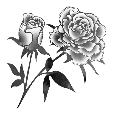 Twin Rose Large Temporary Tattoo black, flower, large, rose, tattoo, tribal, wholesale