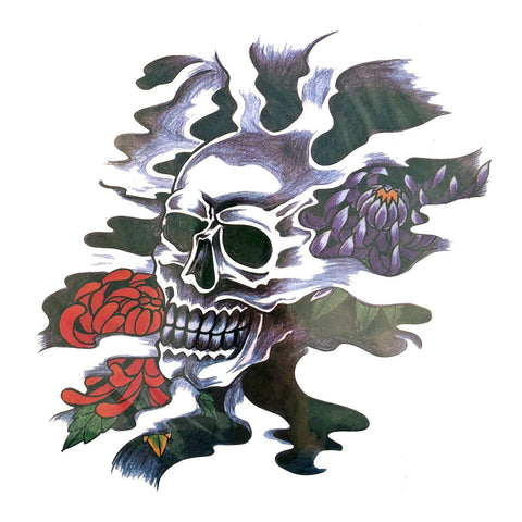 Skull Flowers Large Temporary Tattoo colour, flower, large, panther, skull, tattoo, wholesale