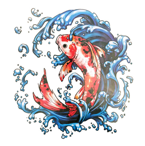 Koi Large Temporary Tattoo animal, colour, fish, koi, large, tattoo, water, wholesale