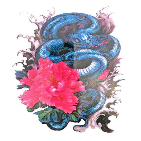 Snake With Flower Large Temporary Tattoo animal, colour, flower, large, snake, tattoo, wholesale