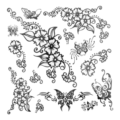 Flowers Large Temporary Tattoo black, butterfly, floral, flower, large, tattoo, tribal, wholesale