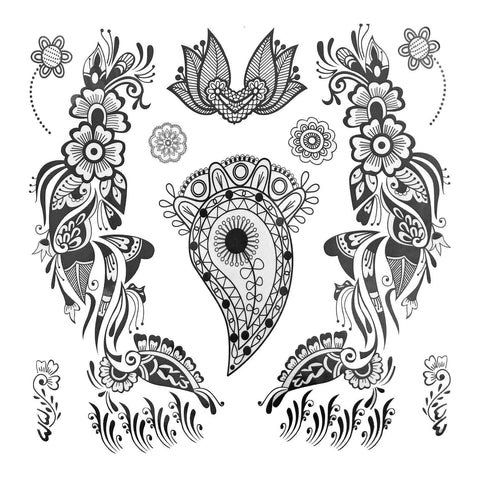 Paisley And Flower Pattern Large Temporary Tattoo black, large, paisley, tattoo, wholesale