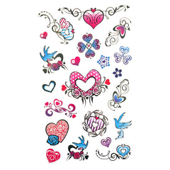 Childrens Funky Design 2 Tattoo Sheet childrens, colour, girl, girls, heart, kids, tattoo, wholesale