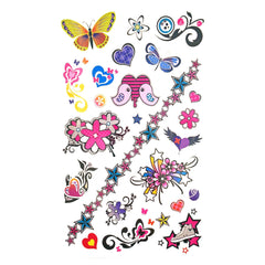 Childrens Funky Design 1 Tattoo Sheet butterfly, childrens, colour, girl, girls, kids, stars, tattoo, wholesale