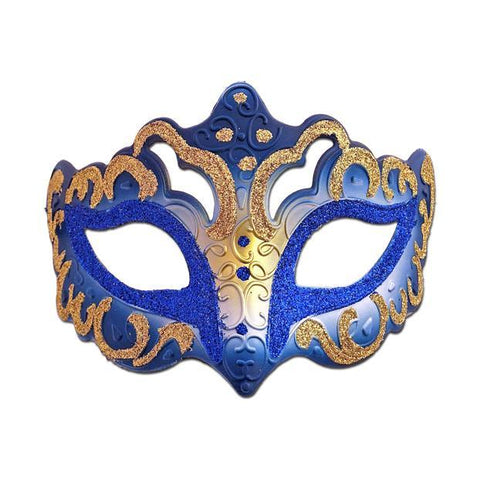 Venetian Fancy Glitter Masquerade Mask Royal Blue and Gold